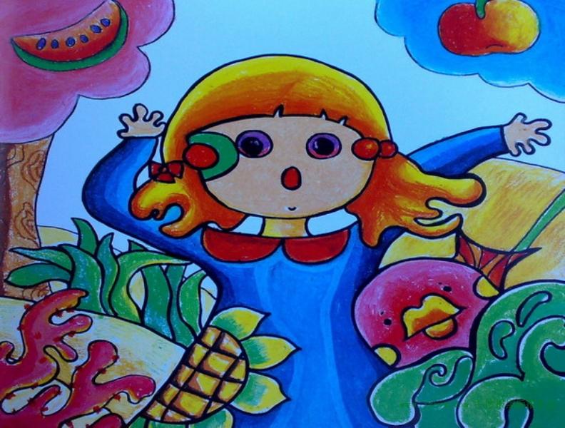 儿童画可爱的小女孩