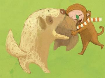 猴子可爱抱抱动态图片
